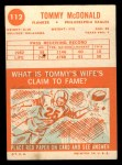 1963 Topps #112   Tommy McDonald     Back Thumbnail