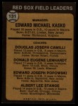 1973 Topps #131 BRN Red Sox Field Leaders  -  Eddie Kasko / Doug Camilli /  Don Lenhardt / Eddie Popowski / Lee Stange Back Thumbnail