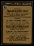 1973 Topps #131 BRN  -  Eddie Kasko / Doug Camilli /  Don Lenhardt / Eddie Popowski / Lee Stange Red Sox Leaders Back Thumbnail