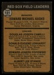 1973 Topps #131 ORG Red Sox Leaders    -  Eddie Kasko / Doug Camilli /  Don Lenhardt / Eddie Popowski / Lee Stange Back Thumbnail
