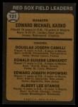 1973 Topps #131 ORG Red Sox Field Leaders    -  Eddie Kasko / Doug Camilli /  Don Lenhardt / Eddie Popowski / Lee Stange Back Thumbnail