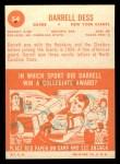 1963 Topps #54   Darrell Dess Back Thumbnail