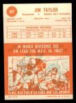 1963 Topps #87   Jim Taylor Back Thumbnail