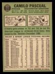 1967 Topps #71   Camilo Pascual Back Thumbnail