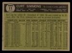 1961 Topps #11 COR  Curt Simmons Back Thumbnail