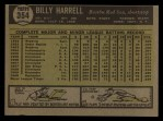 1961 Topps #354  Billy Harrell  Back Thumbnail