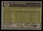 1961 Topps #381   Dave Wickersham Back Thumbnail