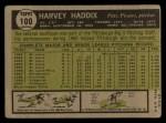 1961 Topps #100  Harvey Haddix  Back Thumbnail
