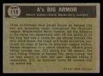 1961 Topps #119   -  Norm Siebern / Hank Bauer / Jerry Lumpe A's Big Armor Back Thumbnail