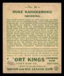 1933 Goudey Sport Kings #20   Duke Kahanamoku  Back Thumbnail