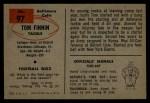 1954 Bowman #97 ERR  Tom Finnan  Back Thumbnail