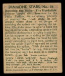 1935 Diamond Stars #21 PHL  Johnny Vergez  Back Thumbnail
