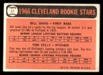 1966 Topps #44  Indians Rookies  -  Tom Kelly / Bill Davis Back Thumbnail