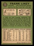 1967 Topps #279  Frank Linzy  Back Thumbnail