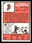 1966 Topps #43   Mickey Slaughter Back Thumbnail