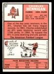 1966 Topps #57  Charlie Hennigan  Back Thumbnail