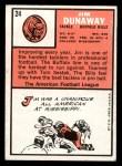1966 Topps #24   Jim Dunaway Back Thumbnail