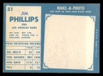 1961 Topps #51  Jim Phillips  Back Thumbnail