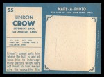 1961 Topps #55  Lindon Crow  Back Thumbnail