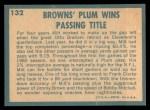 1961 Topps #132   -  Milt Plum 1960 Football Highlights Back Thumbnail