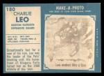 1961 Topps #180  Charles Leo  Back Thumbnail