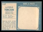 1961 Topps #157   Laverne Torczon Back Thumbnail
