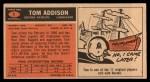 1965 Topps #1   Tom Addison Back Thumbnail