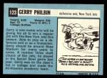 1964 Topps #123   Gerry Philbin Back Thumbnail