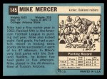 1964 Topps #145   Mike Mercer Back Thumbnail