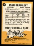 1967 Topps #38   John Bramlett Back Thumbnail