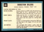 1964 Topps #88   Houston Oilers Back Thumbnail