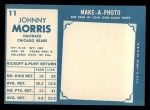 1961 Topps #11   Johnny Morris Back Thumbnail