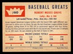1960 Fleer #60   Lefty Grove Back Thumbnail