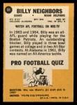 1967 Topps #84   Billy Neighbors Back Thumbnail