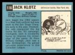 1964 Topps #116  Jack Klotz  Back Thumbnail