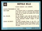 1964 Topps #43   Buffalo Bills Back Thumbnail
