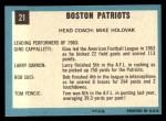 1964 Topps #21  Boston Patriots  Back Thumbnail