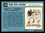 1964 Topps #84  Walt Suggs  Back Thumbnail