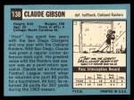 1964 Topps #138  Claude Gibson  Back Thumbnail