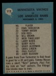 1964 Philadelphia #112   -  Norm Van Brocklin Minnesota Vikings Back Thumbnail