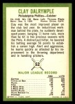1963 Fleer #52  Clay Dalrymple  Back Thumbnail
