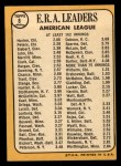 1968 Topps #8  1967 AL ERA Leaders  -  Joe Horlen / Gary Peters / Sonny Siebert Back Thumbnail