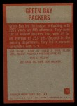 1965 Philadelphia #71   Green Bay Packers  Back Thumbnail
