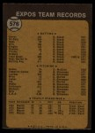 1973 Topps #576   Expos Team Back Thumbnail
