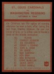 1965 Philadelphia #168  St. Louis Cardinals  -  Wally Lemm Back Thumbnail