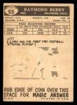 1959 Topps #55  Raymond Berry  Back Thumbnail