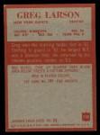 1965 Philadelphia #118   Greg Larson  Back Thumbnail