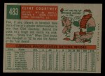 1959 Topps #483   Clint Courtney Back Thumbnail