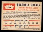1960 Fleer #31  Tony Lazzeri  Back Thumbnail