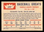 1960 Fleer #77   Pie Traynor Back Thumbnail